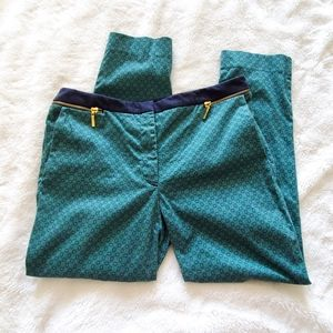 Zara Basic Emerald Navy Patterned Cropped Trousers